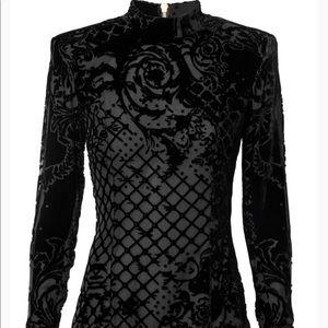 HM x Balmain Black Velvet Mesh Long Sleeve Top